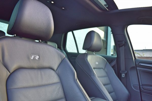 VW Golf R Interior Looking at Seats and Headrests and Sunroof