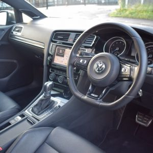 VW Golf R Interior Looking at Steering Wheel From Outside Car Open Door